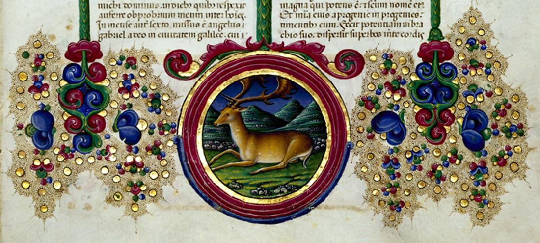 particolare di una pagina della Bibbia di Borso d'Este (1455-1461). Courtesy Biblioteca Estense, Modena.